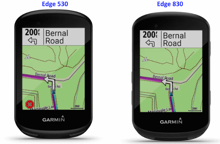 Garmin Edge 530 (l) vs Edge 830 (r)